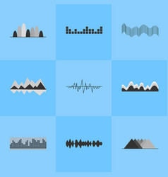 Music equalizer interface set of nine icons vector