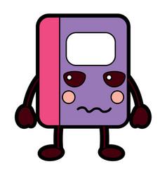 Notebook angry school supplies kawaii icon imag vector