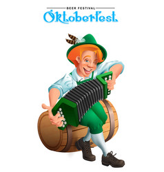 oktoberfest beer festival young german man sit on vector image