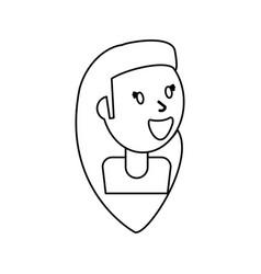 outlined portrait girl smile vector image