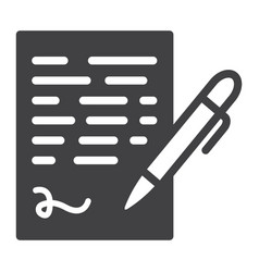 Pen signing solid icon business contract sign vector