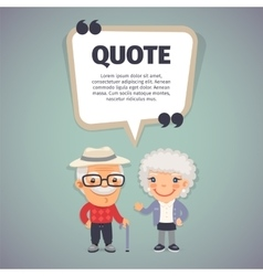 Quote Speech Banner and Elderly Couple vector
