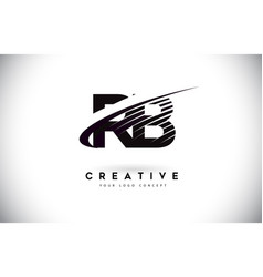 Rb r b letter logo design with swoosh and black vector