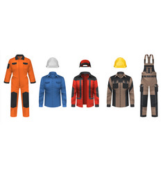 Realistic workwear overall uniform clothes vector