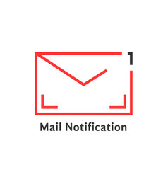 red thin line mail notification icon vector image