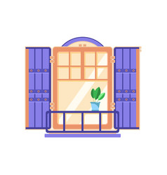 Retro wooden window with blue shutters vector