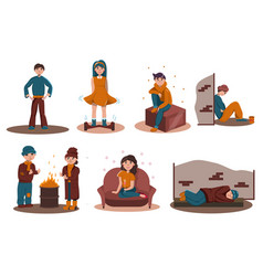 Rich and poor people life isolated scene set vector
