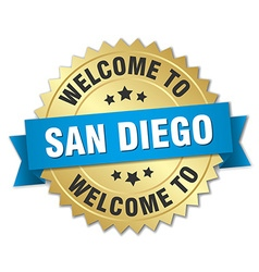 San diego 3d gold badge with blue ribbon vector