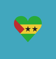 sao tome and principe flag icon in a heart shape vector image