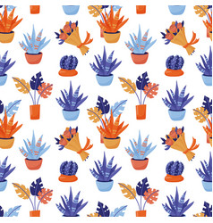 seamless pattern - monstera cacti flower bouquet vector image