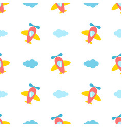 seamless pattern with colorful planes vector image