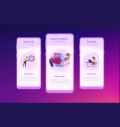search engines optimization app interface template vector image