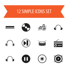 Set of 12 editable audio icons includes symbols vector