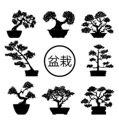 set of black and white bonsai trees vector image