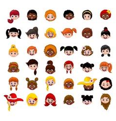 Set of cartoon childs head girls vector image