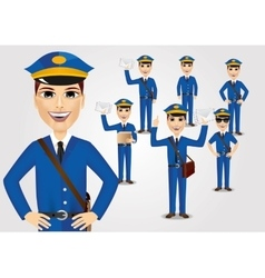 set of friendly young postmen with bag vector image
