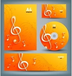 Set of template designs with music notes and key vector image