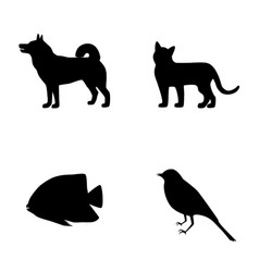 set silhouette of dog cat fish bird icons vector image