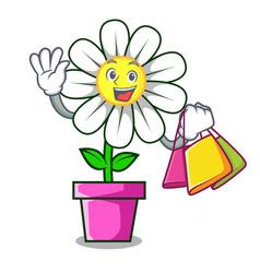 shopping daisy flower character cartoon vector image