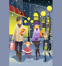 shopping family in winter vector image