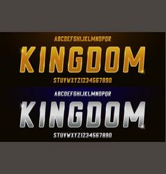 silver and golden font metal alphabet set vector image