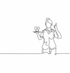 Single one line drawing waitress vector