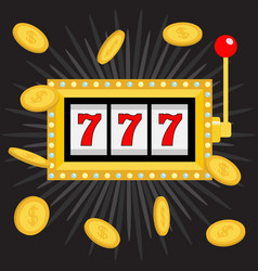 slot machine golden glowing lamp light 777 vector image