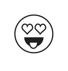 Smiling cartoon face positive people emotion icon vector