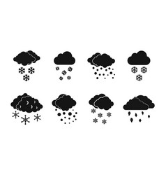 snow cloud icon set simple style vector image