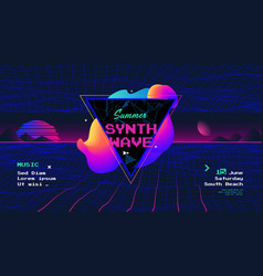 summer synth retro wave poster with sunrise vector image