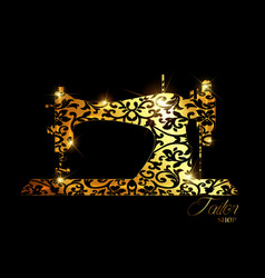 tailor shop gold luxury logo sewing machine vector image