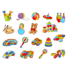 Toy icon collection - color vector