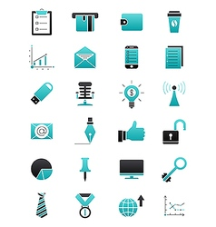 Turquoise black business icons set vector image