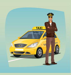 Unshaved taxi driver with yellow car vector
