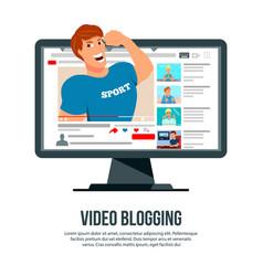 Video blogging character header vector