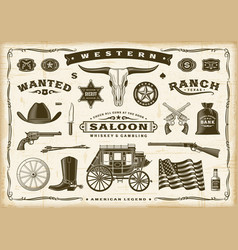 Vintage old western set vector