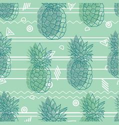 Vintage tribal mint green pineapples vector