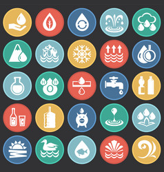Water icon set on color circles black background vector