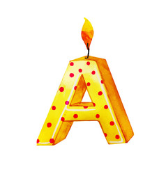 Watercolor happy birthday letter a candle vector