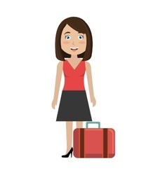 Woman with suitcase travel vector