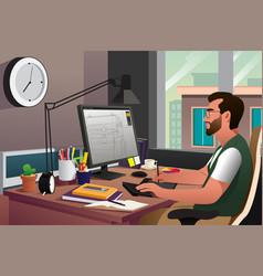 Working in front computer vector