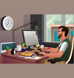 working in front of computer vector image