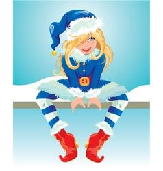 xmas girl blue 380 vector image