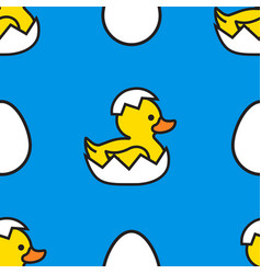 yellow duck with eggs easter day seamless pattern vector image