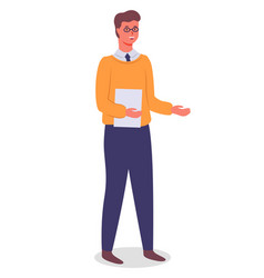 young man in glasses stands with document office vector image