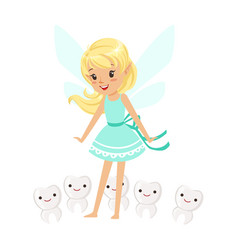 beautiful sweet blonde tooth fairy girl standing vector image vector image