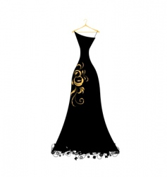 evening dress black on hangers vector image vector image