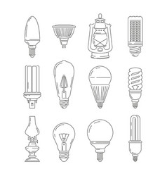 symbols of light different bulbs mono line vector image vector image