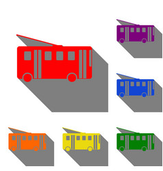 trolleybus sign set of red orange yellow green vector image