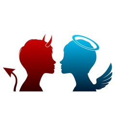 angel and devil silhouette vector image